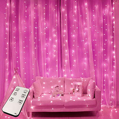 JMEXSUSS Remote Control 300 LED Pink Curtain Lights 8 Modes Pink Curtain String Lights,Window Curtain Lights for Bedroom Christmas Wedding Party Backdrop Indoor Outdoor Decorations (Pink)
