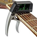 Acme Cejilla con afinador LCD sintonizador para guitarra y bajo, plata