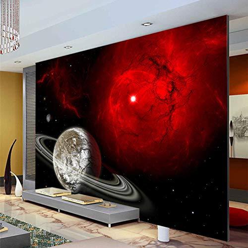 WLPBH 3D Mural Self-Adhesive Wallpaper (W) 450X (H) 300Cm Fantasy Red Galaxy Wallpaper Photo Wallpaper 3D Mural Space Planet Bedroom Living Room Art