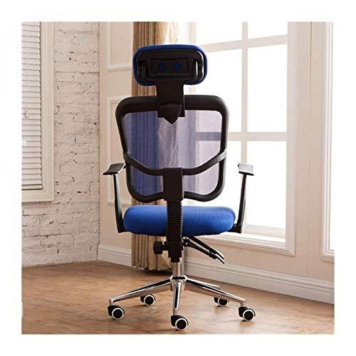 YONGYONGCHONG Bürostuhl Bürostuhl High Back Executive Mesh Chair mit Kopfstütze Support SEAT Justierbarer Drehstuhl Taskstuhl (Color : Blue, Size : Free Size)