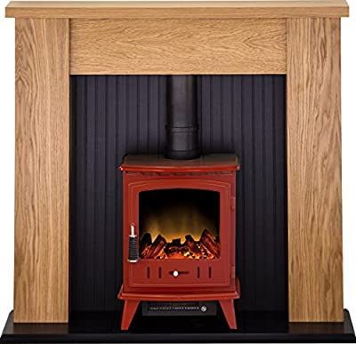 Adam New England Stove Suite in Oak with Aviemore Electric Stove in Red, 48 Inch