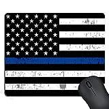 SSOIU Retro Thin Blue Line Flag Mouse Pad,US Thin Blue Flag Mouse Pad