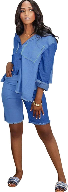 Womens Sexy 2 Pieces Denim 在庫限り Blouse Shirts Shorts Paneled 送料無料限定セール中 Bodycon