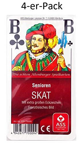 ASS Altenburger Spielkarten 4 x Senioren Skat Kartenspiel französisches Bild in Cellophan ohne Kunststoffetui