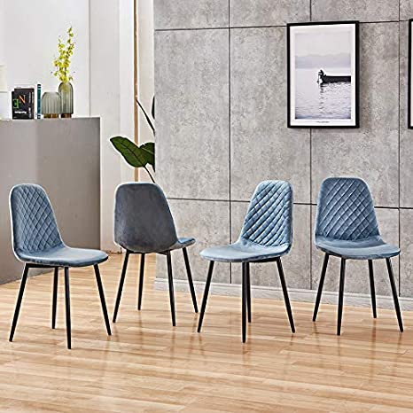 Amazon Com Ahumans Upholstered Dining Chairs Set Of 4 Upholstered Kitchen Chairs With Dutch Velvet Cushion And Black Finish Legs Mid Century Dining Chairs For Kitchen Dining Room Blue Kitchen Dining