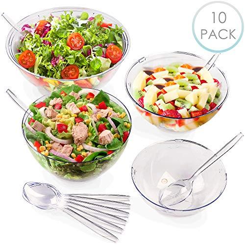 10 Stück Kunststoff SalatSchüsseln Set - 1x 5100ml, 2x 3500ml, 3x 3000ml & 4x 1500ml Plastikschüsseln mit 10 Servierlöffel - Robust & Stabil - Einweg & Wiederverwendbar  für Partys BBQs Geburtstage.