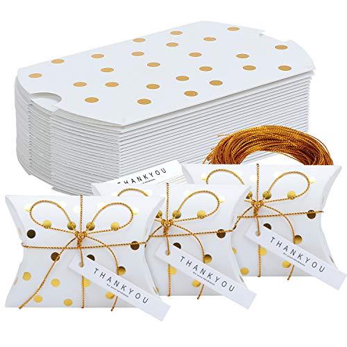 TsunNee - Scatole di carta per caramelle con biglietto di ringraziamento, scatole regalo natalizie, scatole per bomboniere, scatole creative di carta, confezione da 50, Stile 1, 24-Pack
