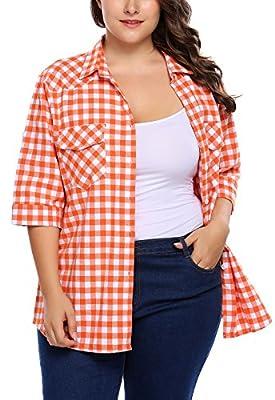 IN'VOLAND Involand Women Plus Size Summer Roll up Sleeve Boyfriend Plaid Button Down Shirts