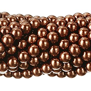 RUBYCA 200Pcs Czech Tiny Satin Luster Glass Pearl Round Beads DIY Jewelry Making 4mm Copper Brown:Eventmanager