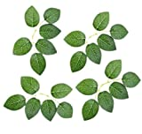 Artificial Green Leaves Real Looking 40pcs Fake Rose Flower Leaves Decoration DIY for Wedding Bouquets Centerpieces Party Bridal Shower Arrangements Party Tables Decorations(Green, 40pcs Leaves)