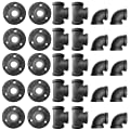Alffun 1/2 Inch Black Malleable Iron Cast Pipe Fitting Flange Tees Elbow, for DIY Decor or Industrial Vintage Style, 30-Pack.