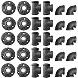 Alffun 1/2 Inch Black Malleable Iron Cast Pipe Fitting Flange Tees Elbow, for DIY Decor or...