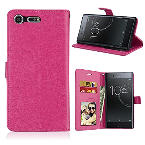 ShuiSu Funda con tapa para Sony Xperia XZ Premium, cuero sintético de alta calidad, suave, cierre magnético, con función atril, bolsillos para tarjetas, color rosa