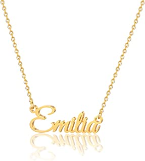 MONOOC Custom Name Necklace Personalized, 14K Gold Plated Personalized Name Necklace Gold Rose Gold Silver Color Stainless...