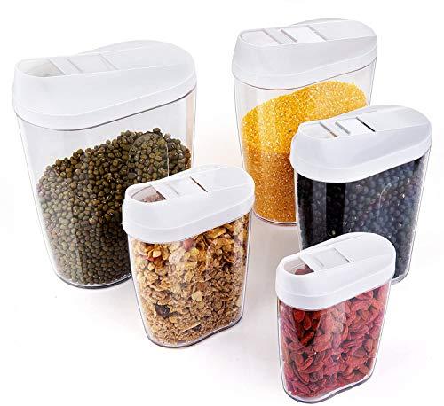 Set de 5 Plástico de Alimentos Secos Cereal Caja de Almacenamiento de La Cocina Dispensador de Contenedores con Tapa Hermética