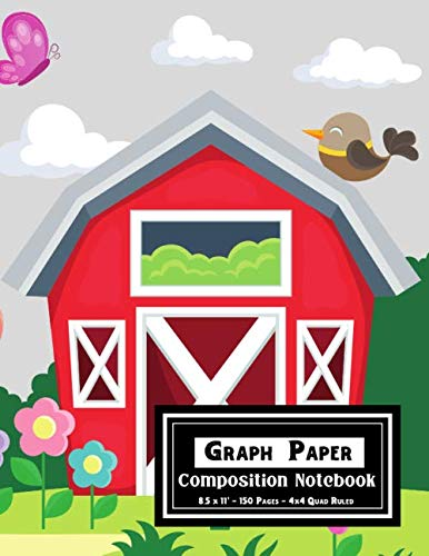 "Graph Paper Composition Notebook: Blank 4x4 Quad Ruled Four Square Per Inch/.25"" x .25"" Quadrille Paper For Maths and Science(Farm Animals Cover)"