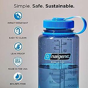 Nalgene Tritan Wide Mouth BPA-Free Water Bottle, Lollipop Red, 32 oz
