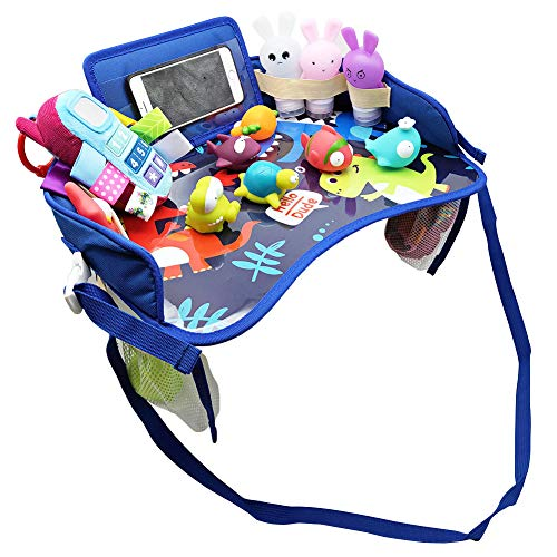Kids Travel Tray, Toddler Car Seat Tray Organizer, Kids Lap Tray Play Tray with A Phone Holder, A Road Trip Essential, Mesh Pockets, Soft Padding, Waterproof (Blue)