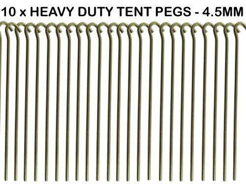 We Search You Save Lot de 10 piquets de tente en acier galvanisé avec tête incurvée 23 cm x 4,5 mm