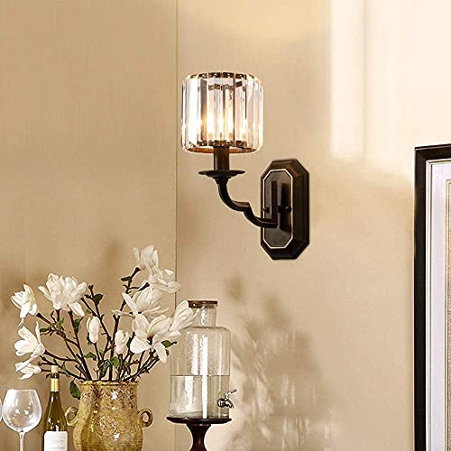 Lámpara de pared de moda lámpara de pared de cristal americano lámpara de pared dormitorio sala de estar entrada pasillo luces TV telón de fondo decorativo hierro forjado lámparas de noche 14 * 32 cm