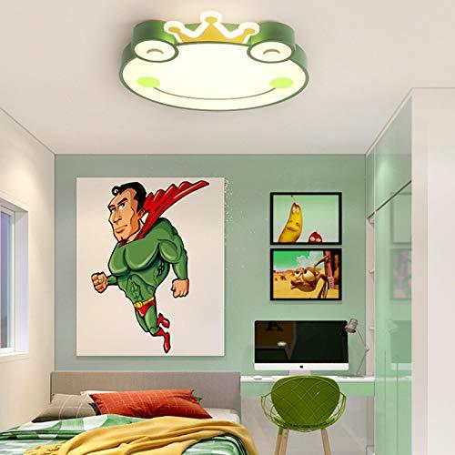 Lámpara De Techo Regulable Con Mando A Distancia Para Habitación Infantil,Plafón Led De Techo,Rana De Dibujos Animados Linda Lámpara Simple 51 * 50 * 5 Verde A Sección 55Cm-Atenuación Infinita