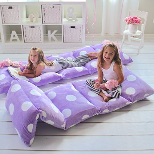 Butterfly Craze Pillow Bed Floor Lounger Cover - Perfect for Pillow Recliners & Kid Beds for Reading Playing Games or at a Sleepover or Slumber Party - Purple Polka Dot, Queen