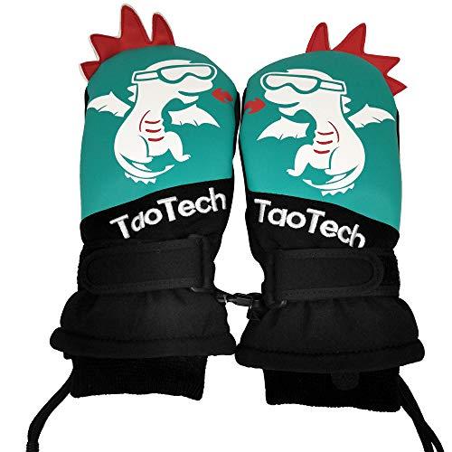 TaoTech キッズ スキー スノー グローブ PU 手袋 ミトン 防水 防寒 子供 男の子 女の子 アウトドア スノボー スポーツ (S, グリーン)