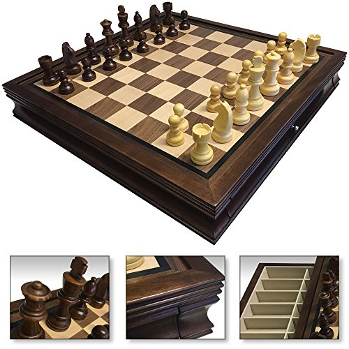 4 LESS CO 19 Large Deluxe Chess Board Game Set Box Inlaid Walnut Wood Pieces 1208M