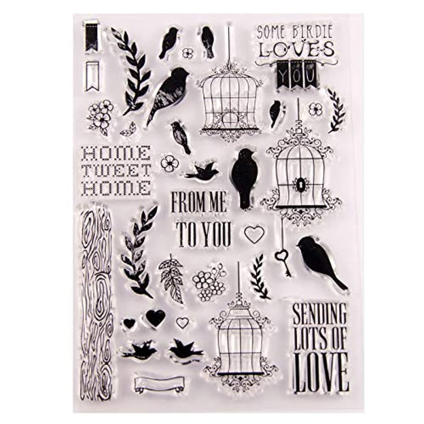 MaGuo Bird Cage Love Clear Stamps for DIY Scrapbooking and Card Making Decoration