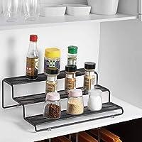 キッチンキャビネット/バスルーム用3ティアスパイスラックオーガナイザー/バスルーム/デスク、ブラックモダンパントリーキッチンカウンタートップスタンド3ステップスパイスシェルフ