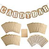 Sweieoni Candy bar Zubehör Set Candy Bar Girlande Candy bar Girlanden Candy Bar Banner mit Kraftpapier tüten, für Candybar Deko Hochzeit Party Geburtstagen Süßigkeiten Party Zubehör Dekorationen