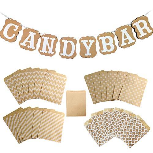 Sweieoni Candy Bar Banner Candy Bar bandierine, con 50 Pezzi Sacchetti Carta Kraft per Matrimonio Compleanno Battesimo Decorazioni Bar