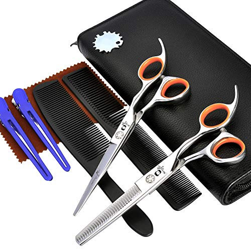 "Hair Cutting Scissors Kits, MASTER GO 8 PCS Professional Stainless Steel Straight Edge Hair Scissor Texturizing/Thinning Hairdressing Scissor Shears Set for Barber/Salon/Home (6.5""Polishing)"