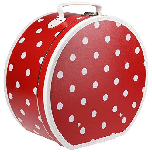 Lierys Hutkoffer Red-Pünktchen Hutbox Hutschachtel Transportbox Damen - Made in The EU Frühling-Sommer Herbst-Winter - One Size rot