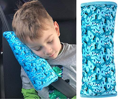 HECKBO Almohadilla Coche con Dibujo de Tiburones para niños - Lavable a máquina - Suave, Tacto de Peluche - Almohadilla cinturón de Seguridad, Funda de cinturón