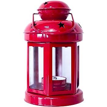 Set 2 Lanterne Porta Candele Natalizie Rosse Decoro Arabesque 34 cm e 23 cm Addobbi di Natale