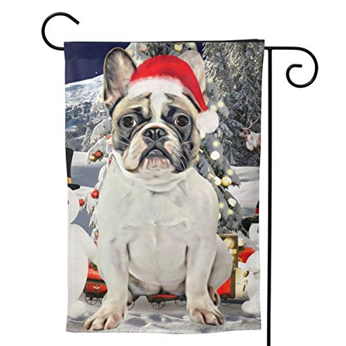 French Bulldog Dog Christmas Snowman Moose Welcome Flag Holiday Party Decorations Ornament Home Double Sided 12.5'x18'