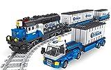 Juego de construcción de tren de mercancías con tren, vagón, contenedores, camiones, 1008 bloques de construcción