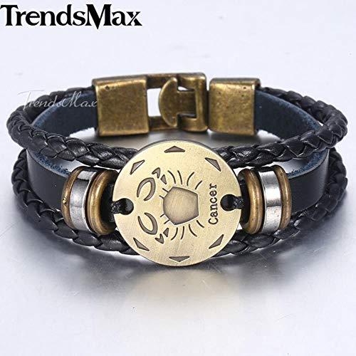 ASIG Teken Horoscoop Heren Lederen Armband Vintage Retro Bedel Polsband Mannelijke Sieraden Geschenken