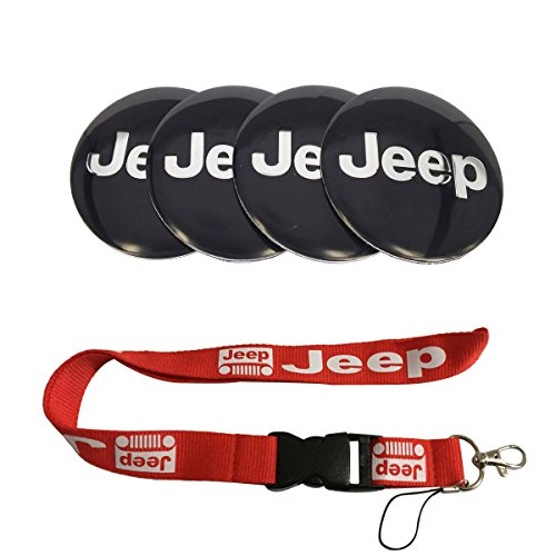 T'Nb New 1pcs Red Jeep Keychain Lanyard Badge Holder + 4pcs Set 56.5mm x 56.5mm Jeep Emblem Badge Sticker Wheel Hub Caps Centre Cover Fit for Jeep Cherokee Patriot Wrangler Compass
