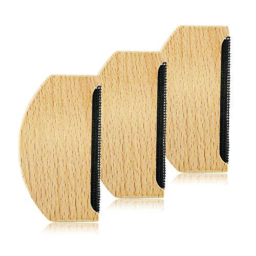 Guanici Peigne en Cachemire Rasoir Anti Bouloche Manuel Brosse Pull en Bois Brosse Anti Bouloche Vetement pour le vêtement en laine polaire pull en tricot écharpe en laine manteau de laine 3 Pièces