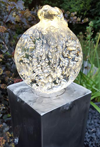 Glaskugel Set 10 cm mit Bohrung incl. LED-Ring für Ihr Wasserspiel Gartenbrunnen