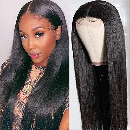 Klaiyi Hair Straight Lace Part Wigs Silk Base Human Hair 4x4' Lace Closure Wig, Brazilian Virgin Hair Wig for Black Women 150% Density Glueless Natural Color Pre Plucked With Baby Hair(18 inch)