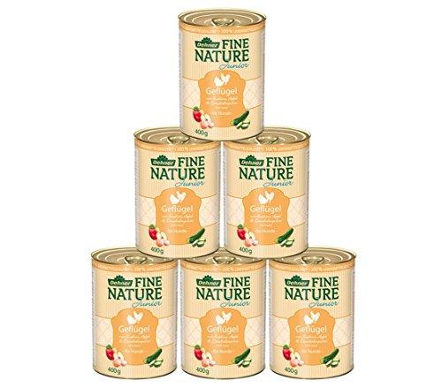 Dehner Fine Nature Hundefutter Junior, Lebensmittelqualität, Geflügel, 6 x 400 g (2,4 kg)