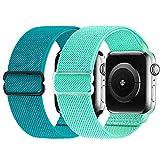 2 Pezzi Cinturino elastico compatibile con cinturino Apple Watch 38mm 42mm 40mm 44mm, cinturino di ricambio in nylon morbido per iWatch Series 6, 5, 4, 3, 2, 1, SE (acqua/verde pavone, 38/40mm)
