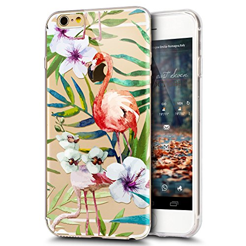 iPhone 5S caso, iPhone se funda, iPhone 5caso, ikasus Ultra Thin Suave TPU flores Floral Flamingo Suave Silicona Caso De Goma, cristal transparente floral suave carcasa de silicona para iPhone 5S 5s