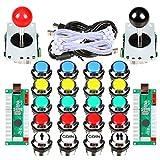 Avisiri 2 Player Arcade Joystick DIY Kit 2 x 8 Way Joystick + 20x Chrome LED Arcade Buttons Game Kit for PC Raspberry Pi Video Games (Mix Kits)
