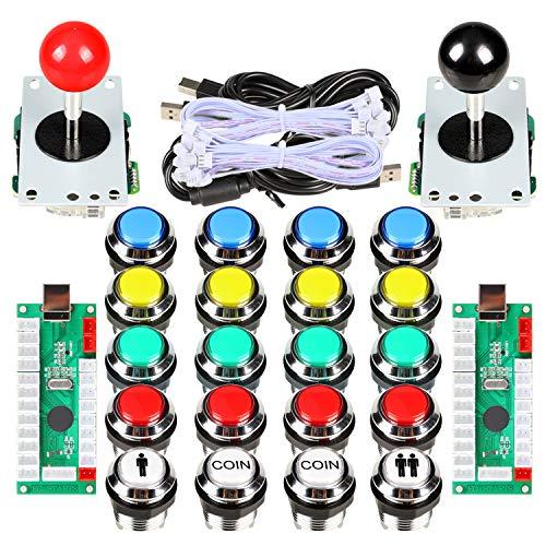 Avisiri 2 Player Arcade Joystick DIY Kit 2 x 8 Way Joystick + 20x...