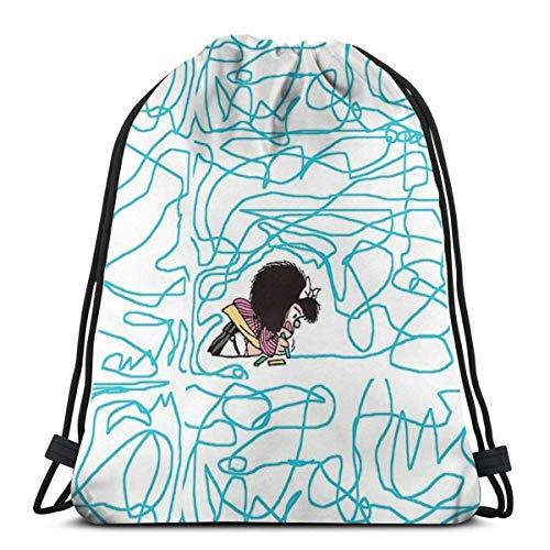orangefruit Mafalda Drawing Crayon Mochila Deportiva Plegable Impermeable Bolsa de Gimnasio Saco Mochila con cordón 36x43 cm