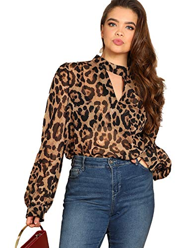 SheIn Women's Choker Neck Long Sleeve Sheer Leopard Print Chiffon Blouse Top Brown X-Large Plus